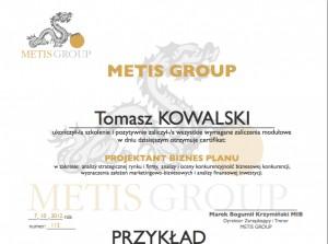 Certyfikat Projektant biznes planu- ukonczenia szkolenia przyklad PL